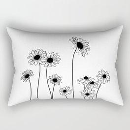 Minimal line drawing of daisy flowers Rectangular Pillow