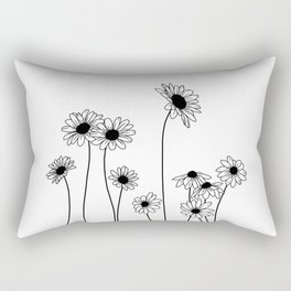 Minimal line drawing of daisy flowers Rectangular Pillow