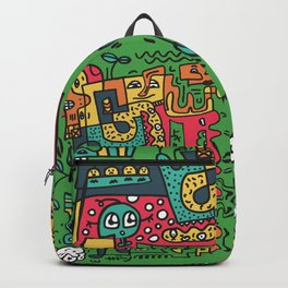 Green Doodle Monster World Backpack