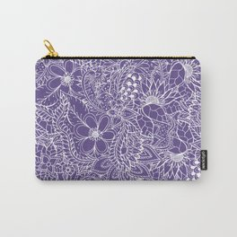 Modern white handdrawn floral pattern on purple ultra violet illustration Carry-All Pouch