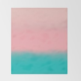 Modern abstract emerald green pink coral ombre Throw Blanket