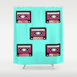 Pink floral cassette print Shower Curtain