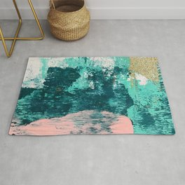 Curious [2]: a vibrant, minimal abstract mixed-media piece in teal, pink, white and gold Rug
