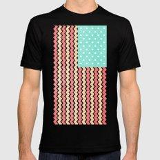 Zig Zag Flag. MEDIUM Black Mens Fitted Tee