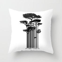 Barcode Trees illustration  Throw Pillow