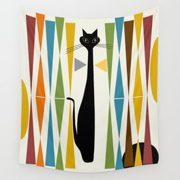 Mid-Century Modern Art Cat 2 Wall Tapestry