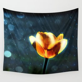 Yellow Tulip in the Rain Wall Tapestry