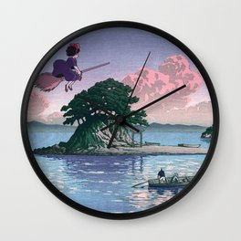 Kiki's Delivery Service and vintage japanese woodblock mashup Wall Clock
