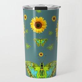 SUNFLOWERS & GREEN MOTHS ABSTRACT ART Travel Mug