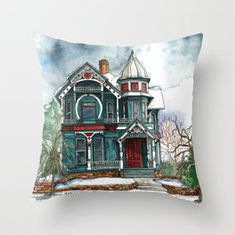 Blue House on a Grey Day Throw Pillow