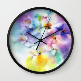 Abstract flowers. Watercolor floral pattern. Colorful delicate florals. Wall Clock