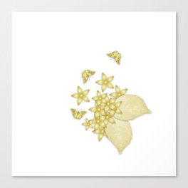 Elegant gold butterflies and gold flowers Canvas Print