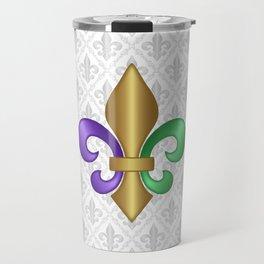 Purple Green and Gold Fleur-de-Lis on Gray Pattern Travel Mug