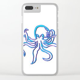 Neon Octopus Clear iPhone Case