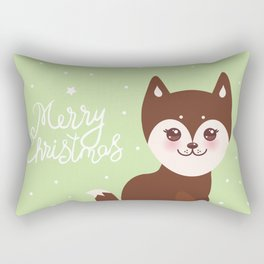 Merry Christmas New Year's card design funny brown husky dog, Kawaii face Rectangular Pillow