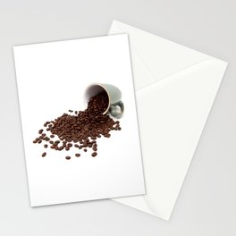 Rich brown coffee beans spilled from a mug Stationery Cards