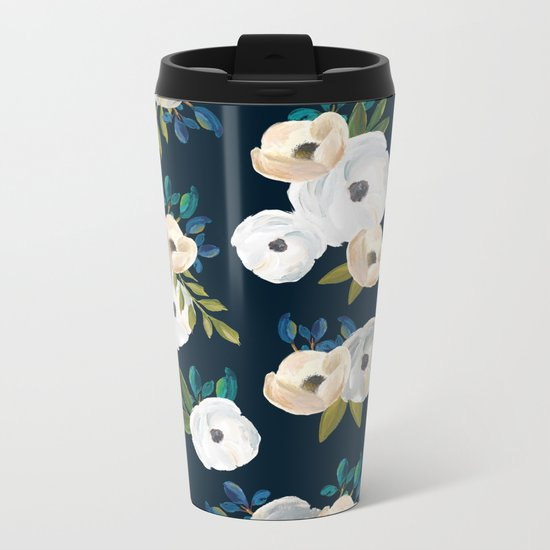 Midnight Florals - Blue & Cream Metal Travel Mug