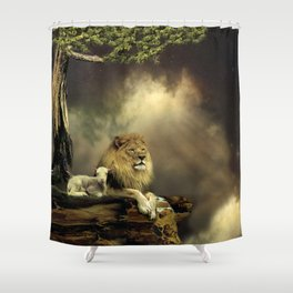 The Lion & the Lamb Shower Curtain
