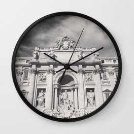 Trevi Fountain, black & white photography of Rome, fine art architecture, italian architectural love Wall Clock