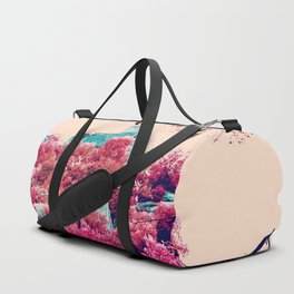 Alien planet castle pink bright green forest Duffle Bag