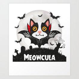 Meowcula Funny Halloween Cat Art Print