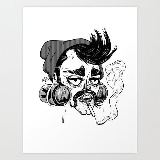 Hipster Trash Dude Art Print