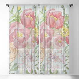 Bouquet of Spring Flowers Light Aqua Sheer Curtain
