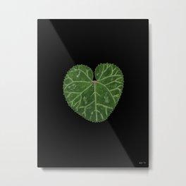 Cyclamen leaf - black Metal Print