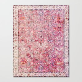 N45 - Pink Vintage Traditional Moroccan Boho & Farmhouse Style Artwork. Canvas Print