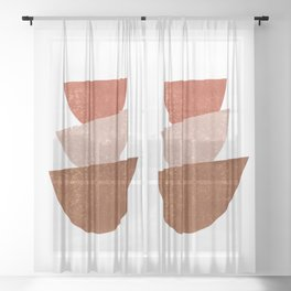 Abstract Bowls 2 - Terracotta Abstract - Modern, Minimal, Contemporary Print - Brown, Beige Sheer Curtain