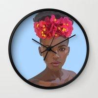 goddess Wall Clocks featuring Goddess by Grace Teaney Art