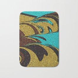 Aqua, Brown, and Gold Mosaic Bath Mat