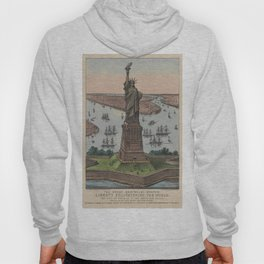 Vintage NYC & Statue of Liberty Illustration (1885) Hoody