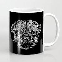 botanical Mugs featuring Botanical Garden Pug by Huebucket