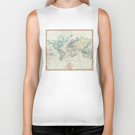 Vintage Map of The World (1801) Biker Tank