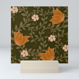 Olive and Orange Winter Floral Pattern Mini Art Print