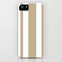 Mixed Vertical Stripes - White and Khaki Brown iPhone Case