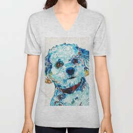 Small Cute Dog Art - Who Me? - Sharon Cummings Unisex V-Neck