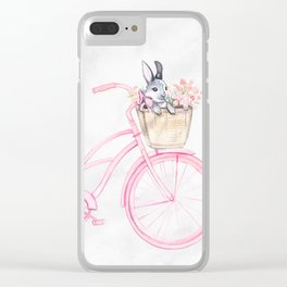 Rabbit and Bicycle Clear iPhone Case