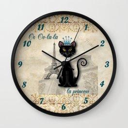 Oo-la-la, the French Princess Kitty Wall Clock