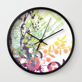 Floral Piston Wall Clock