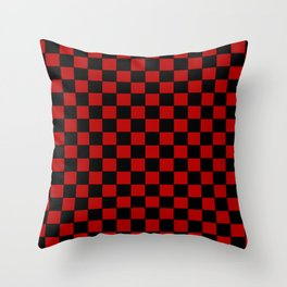 Checkers - Black and Red Throw Pillow