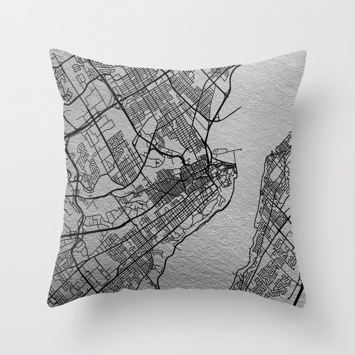 Black and white Quebec map Throw Pillow