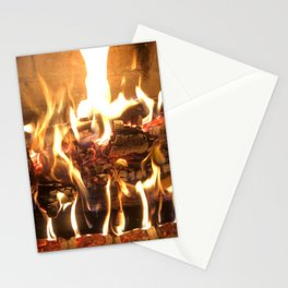 Keeping Warm by the Fire Stationery Cards