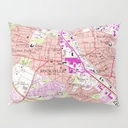 Vintage Map of Rockville Maryland (1965) Pillow Sham