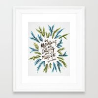 the mountains are calling Framed Art Prints featuring Mountains Calling by Cat Coquillette