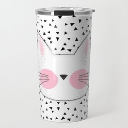 Pink Cheek Kitty Cat Retro Style Travel Mug