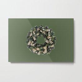 Christmas wreath green dark background Metal Print