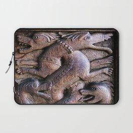 Elegant Antique Carved Wooden Dragons Laptop Sleeve