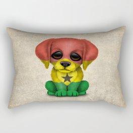 Cute Puppy Dog with flag of Ghana Rectangular Pillow